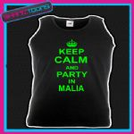 KEEP CALM AND PARTY IN MALIA HOLIDAY CLUBBING UNISEX VEST TOP